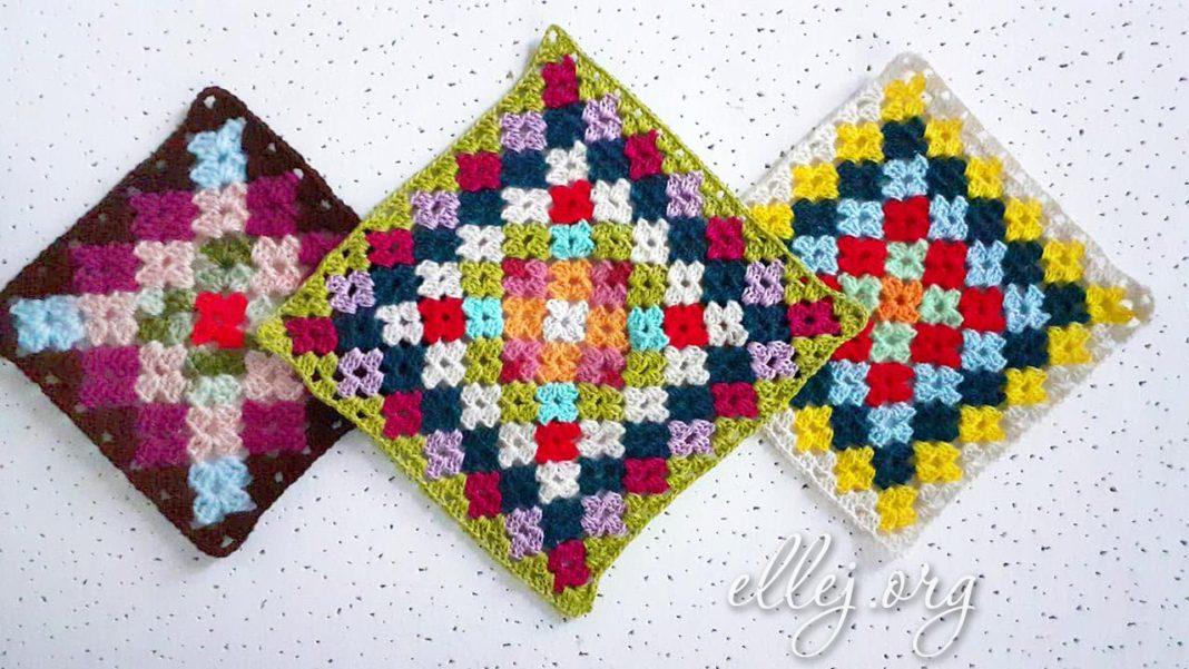 Разноцветный мотив крючком Бабушкин Квадрат