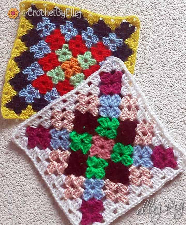 Бабушкин квадрат с цветочками крючком