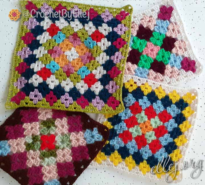 Бабушкин квадрат разноцветный