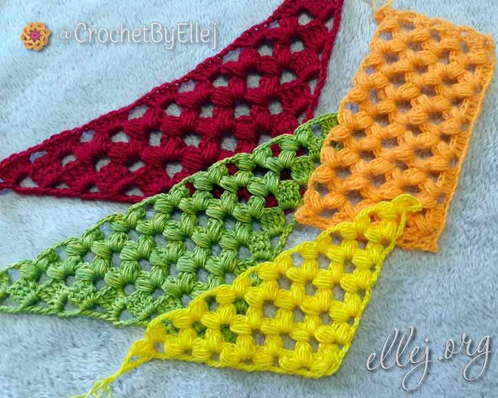 Узор для шали и прямого полотна с пышными галочками