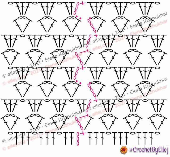 Схема ажурного узора с переходами от ряда к ряду