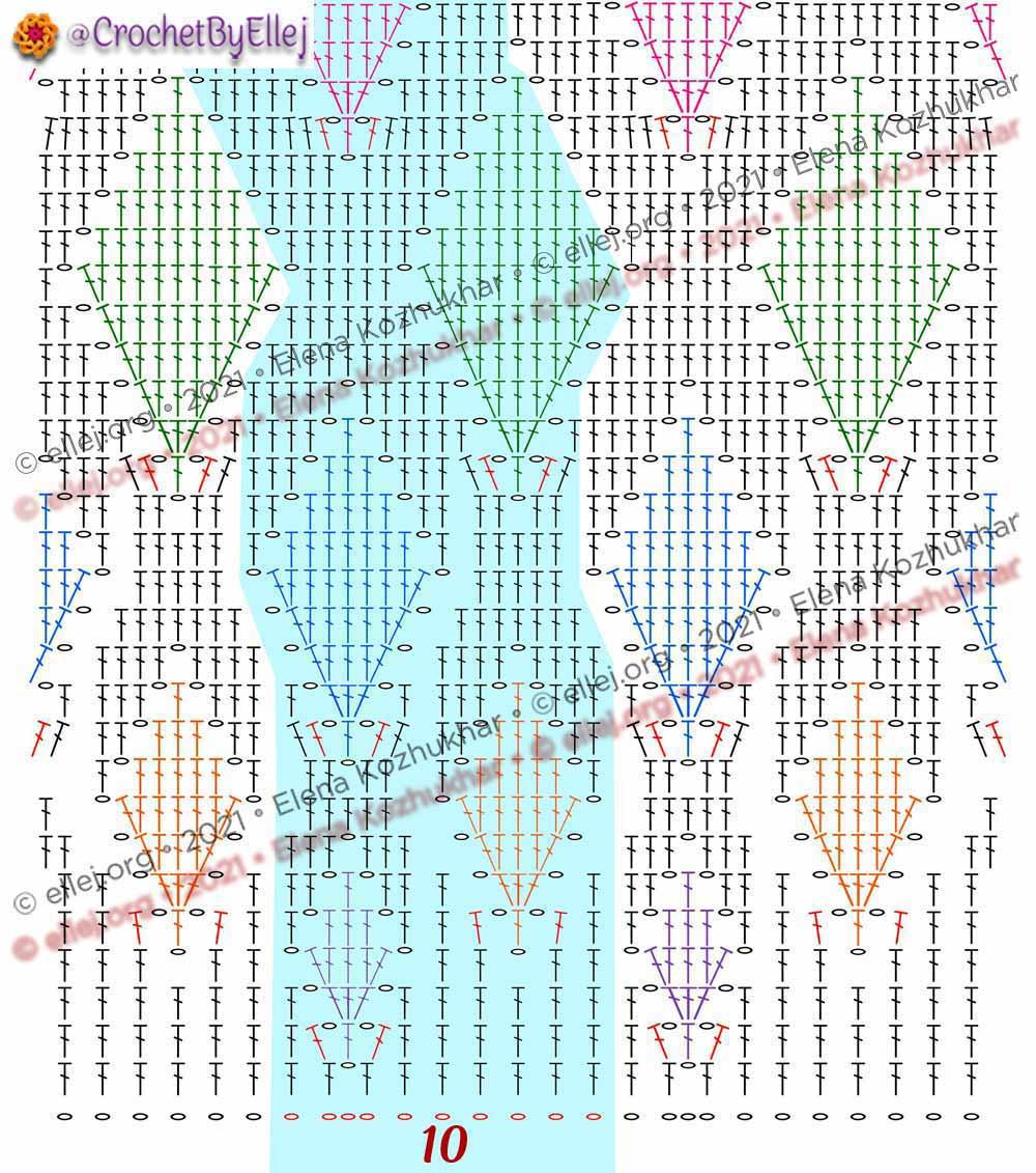 Схема ромбы крючком с расширением